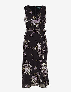 Floral Georgette Midi Dress - BLACK/PURPLE/MULT