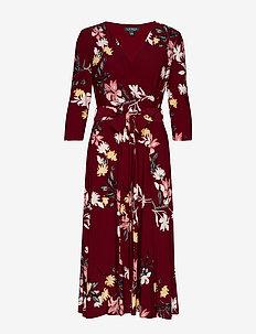 Floral Self-Tie Dress - VIBRANT GARNET/PI