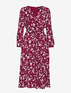 PRINTED BBL CREPE-DRESS - DARK RASPBERRY/CO