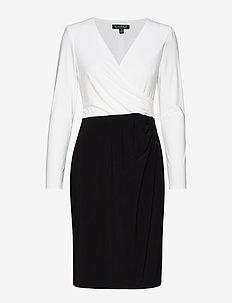 MID WEIGHT MJ-2-TONE DRESS - BLACK/LAUREN WHIT