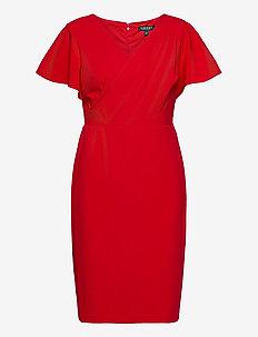 LUXE TECH CREPE-DRESS - wrap dresses - orient red