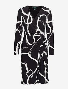PRINTED MATTE JRSY-DRESS W/ TRIM - BLACK/COLONIAL CR