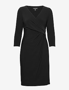 Surplice Jersey Dress - midi dresses - black