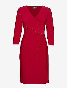 Surplice Jersey Dress - omslagskjoler - scarlet red