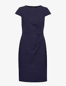 LUXE TECH CREPE-DRESS W/ CAP SLV - midimekot - lighthouse navy