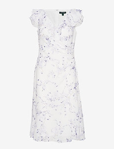 Floral Georgette Cap-Sleeve Dress - COL CREAM/PURPLE/