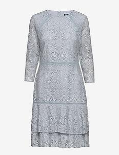 CHINE FLRL SCLP LCE-DRESS W/ TRIM - TOILE BLUE/BLACK