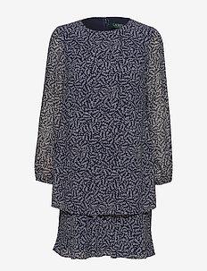 PRINTED GEORGETTE-DRESS - LH NAVY/COLONIAL