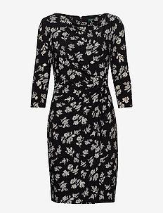 PRINTED MATTE JRSY-DRESS - BLACK/COLONIAL CR