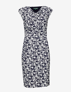 Floral Jersey Cowlneck Dress - midi kjoler - lighthouse navy/c