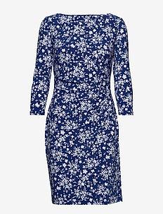 PRINTED MATTE JRSY-DRESS - PARISIAN BLUE/COL