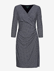 PRINTED MATTE JRSY-DRESS - LIGHTHOUSE NAVY/C