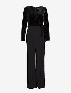 Velvet-Bodice Jersey Jumpsuit - haalarit - black