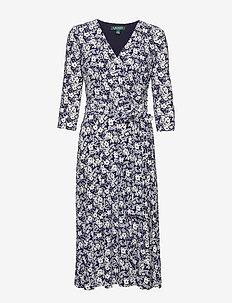 Floral Jersey Surplice Dress - LIGHTHOUSE NAVY/C