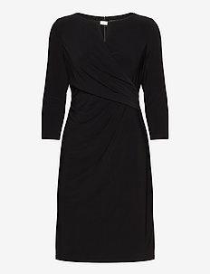 Wrap-Style Jersey Dress - midi kjoler - black