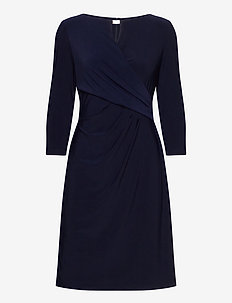 Wrap-Style Jersey Dress - midiklänningar - lighthouse navy