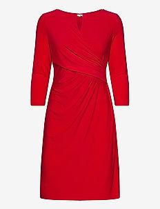 Wrap-Style Jersey Dress - midi kjoler - orient red