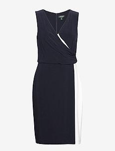 Two-Tone Surplice Dress - LH NAVY/LAUREN WH