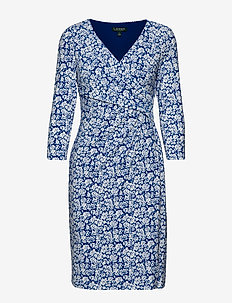 Print Surplice Jersey Dress - omlottklänning - regal sapphire/co