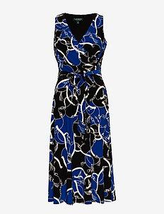 Print Tie-Waist Jersey Dress - omslagskjoler - black/regal sapph