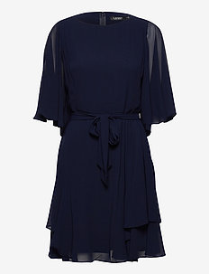 Ruffle-Sleeve Georgette Dress - cocktail dresses - lighthouse navy