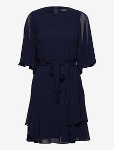 Ruffle-Sleeve Georgette Dress - cocktailkjoler - lighthouse navy
