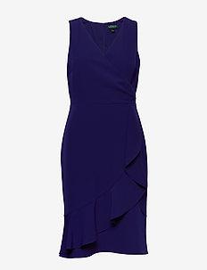 Ruffle-Trim Crepe Dress - wrap dresses - cannes blue