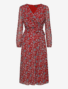 Puff-Sleeve Georgette Dress - wrap dresses - red/blue/multi