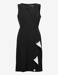 Crepe Surplice Dress - midi kjoler - black/lauren whit