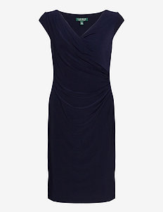 Pleated Jersey Dress - short dresses - lighthouse navy