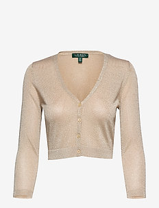 TRANSPARENT RAYON-CARDIGAN - LIGHT GOLD/GOLD M