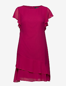 Georgette Boatneck Dress - lyhyet mekot - bright fuchsia