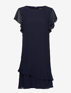 Georgette Boatneck Dress - lyhyet mekot - lighthouse navy