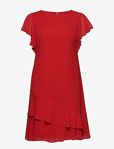 Georgette Boatneck Dress - lyhyet mekot - persimmon