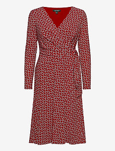 Print Jersey Surplice Dress - wrap dresses - orient red/col cr