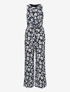 Floral Jersey Jumpsuit - jumpsuits - lighthouse navy/c