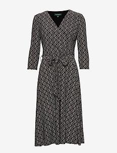 LRL Jersey Surplice Dress - omslagskjoler - black/colonial cr
