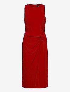 Jersey Sleeveless Dress - sukienki do kolan i midi - orient red