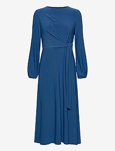 Jersey Long-Sleeve Dress - wrap dresses - dark cerulean