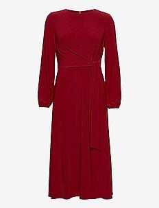 Jersey Long-Sleeve Dress - omslagskjoler - romantic garnet