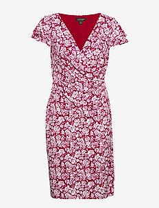 Floral Flutter-Sleeve Dress - krótkie sukienki - berry sorbet/col