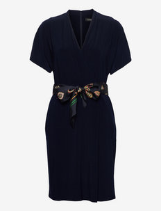 Medallion-Belt Jersey Dress - cocktailjurken - lighthouse navy
