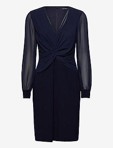 Twist-Knot Jersey-Georgette Dress - robes de cocktail - lighthouse navy