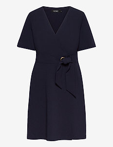 Crepe Fit-and-Flare Dress - robes de jour - lighthouse navy