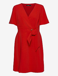 Crepe Fit-and-Flare Dress - robes de jour - lipstick red