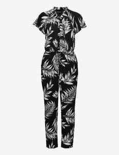 Palm-Print Crepe Jumpsuit - pükskostüümid - black/colonial cr