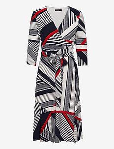 Striped Jersey Surplice Dress - kietaisumekot - col cream/red/lh