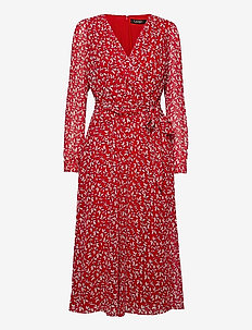 Print Georgette Dress - robes de jour - lipstick red/col
