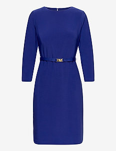 Belted Jersey Dress - midiklänningar - french ultramarin