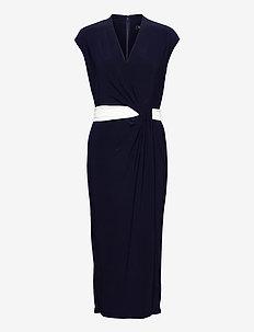 Two-Tone Jersey Cap-Sleeve Dress - cocktailjurken - lh navy/lauren wh